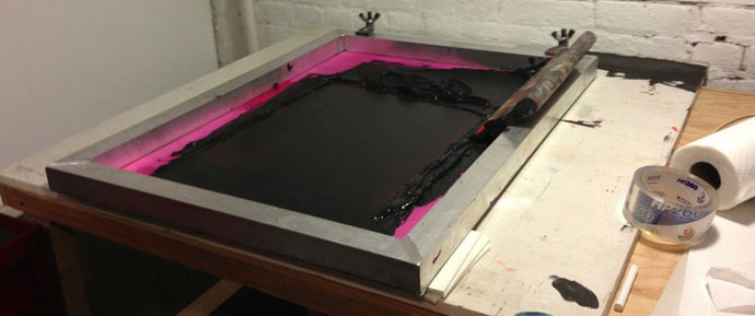 Silkscreen printing in the studio